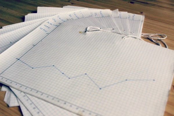 Kariertes DIN A4-Papier, darauf ein mit Bleistift eingezeichneter Graph, dessen horizontale Leiste Stunden markiert und dessen vertiklae Leiste ml markiert. Mit Kugelschreiber sind einzelne Punkt innerhalb des Graphen markiert und zu einer Linie verbunden. Links oben am Rand steht ein Datum und ein Gewicht. Mehrere solcher Blätter liegen aufgefächert auf dem Boden.