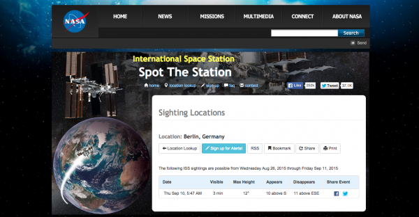 Screenshot: http://spotthestation.nasa.gov/sightings/view.cfm?country=Germany&region=None&city=Berlin#.Vd9ywNOqqko