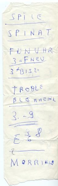 Spile, Spinat, Funuhr, Troble - Wortreihen scheinbar ohne Sinn.