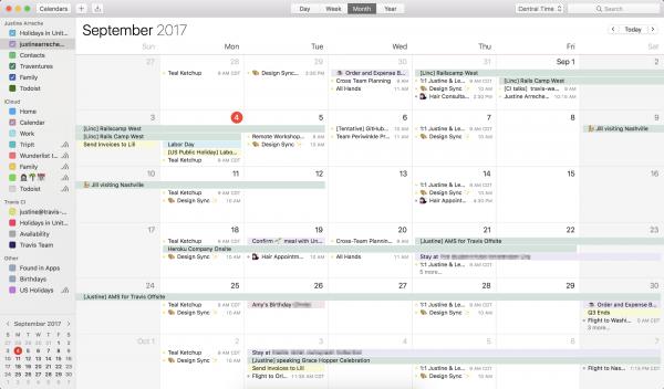 Screenshot der Calendar App in iOS mit weniger Terminen